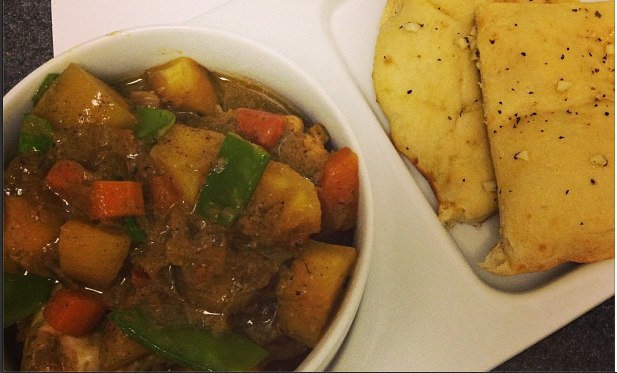 stew and bread