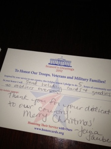 Holiday card for service member